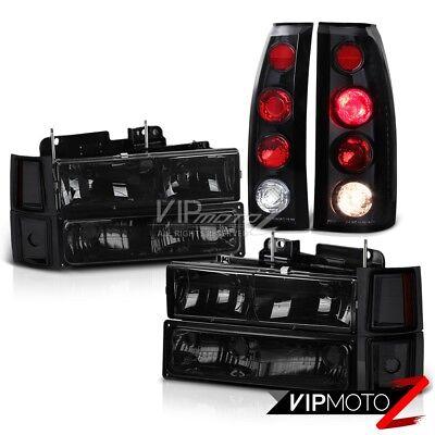DARK SMOKE Corner Headlight+Black Tail Lights Chevrolet C1500 C2500 Silverado