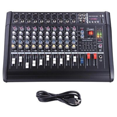10 Channel Professional Powered Mixer Power Mixing Amplifier Amp 16DSP 48V