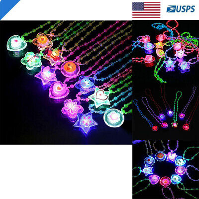 LED LIGHT UP FLASHING CRYSTAL BLACK LANYARD NECKLACE RAVE PARTY DISCO 12 PC](Flashing Led Necklace)