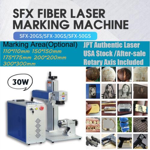 US Stock JPT 30W Fiber Laser Marking Machine Laser Engraver Marker Lens & Rotary