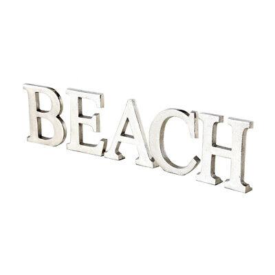 Inscripción Beach Plata De Aluminio Metal Letras Long Island Hampton Decoración
