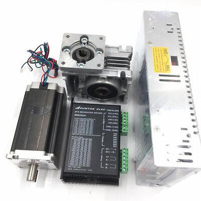 Nema23 57mm Stepper Motor Drive Kit Worm Gear Reducer 7.51 L112mm Power Supply