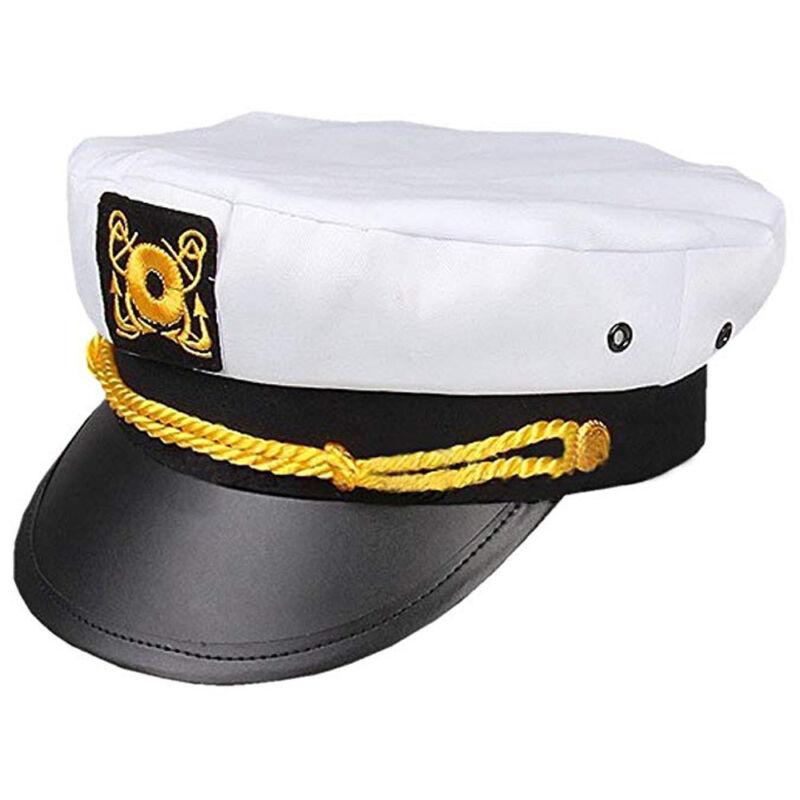 Sailor Ship Yacht Boat Captain Hat Navy Marines Admiral White Gold Cap