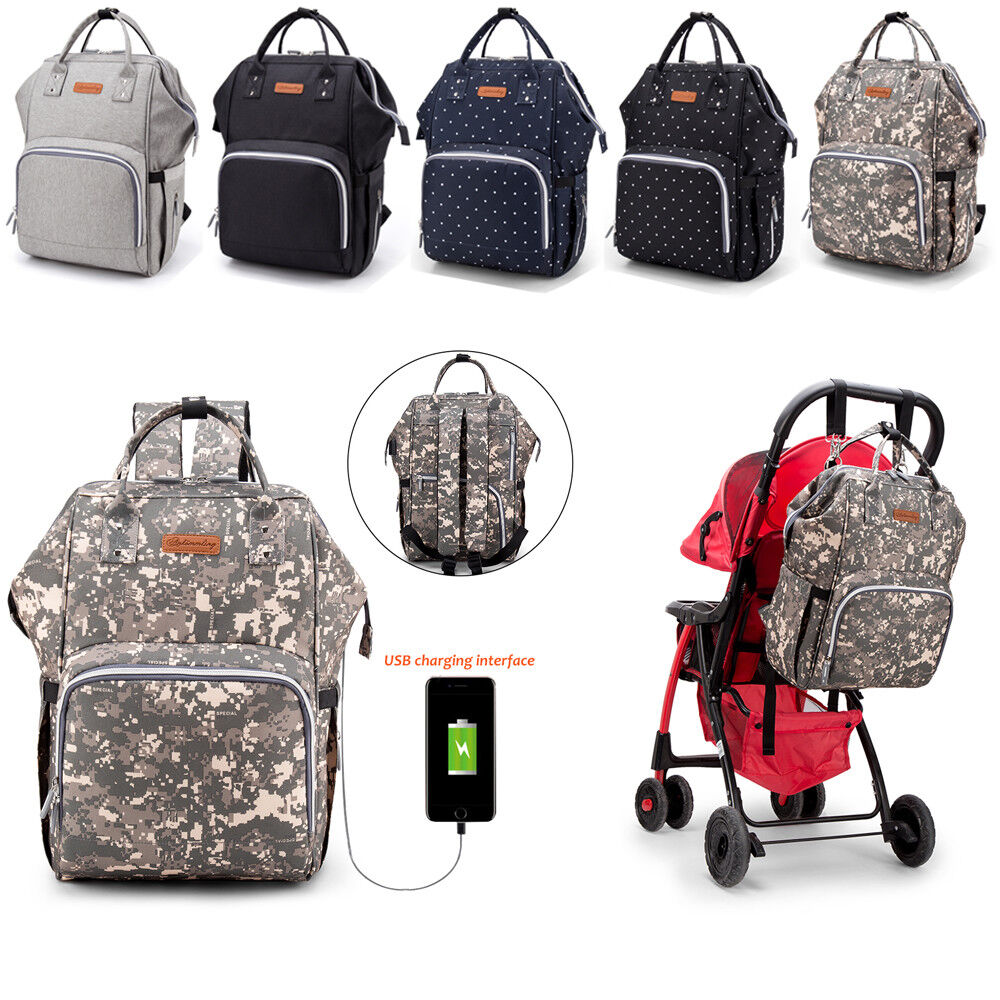 Nappy Baby Bag Mummy Changing Maternity Backpack Diaper Multi-Function Bag USB