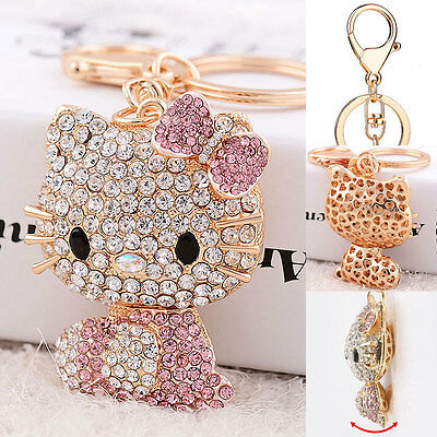 Hello Kitty Key Chain Cute Pink Wallet Pendant Crystal Mobile Phone Ring Bling