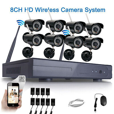 8Pcs Wireless 8CH 1080P NVR WIFI Night Vision 720P Camera Security System CCTV