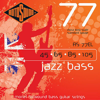 Rotosound RS77EL Jazz Flatwound XL Extra Long Scale Bass Guitar String 45-105 Extra Long Scale