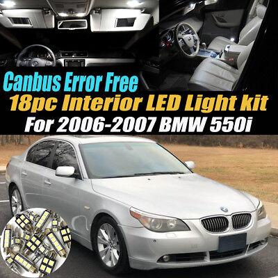 18Pc 2006-2007 BMW 550i CANbus Error Free Car Interior LED White Light Bulb Kit