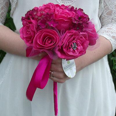 (Artificial Cerise / Hot Pink Rose Wedding Bridal Bouquets /Buttonholes /Pomander)
