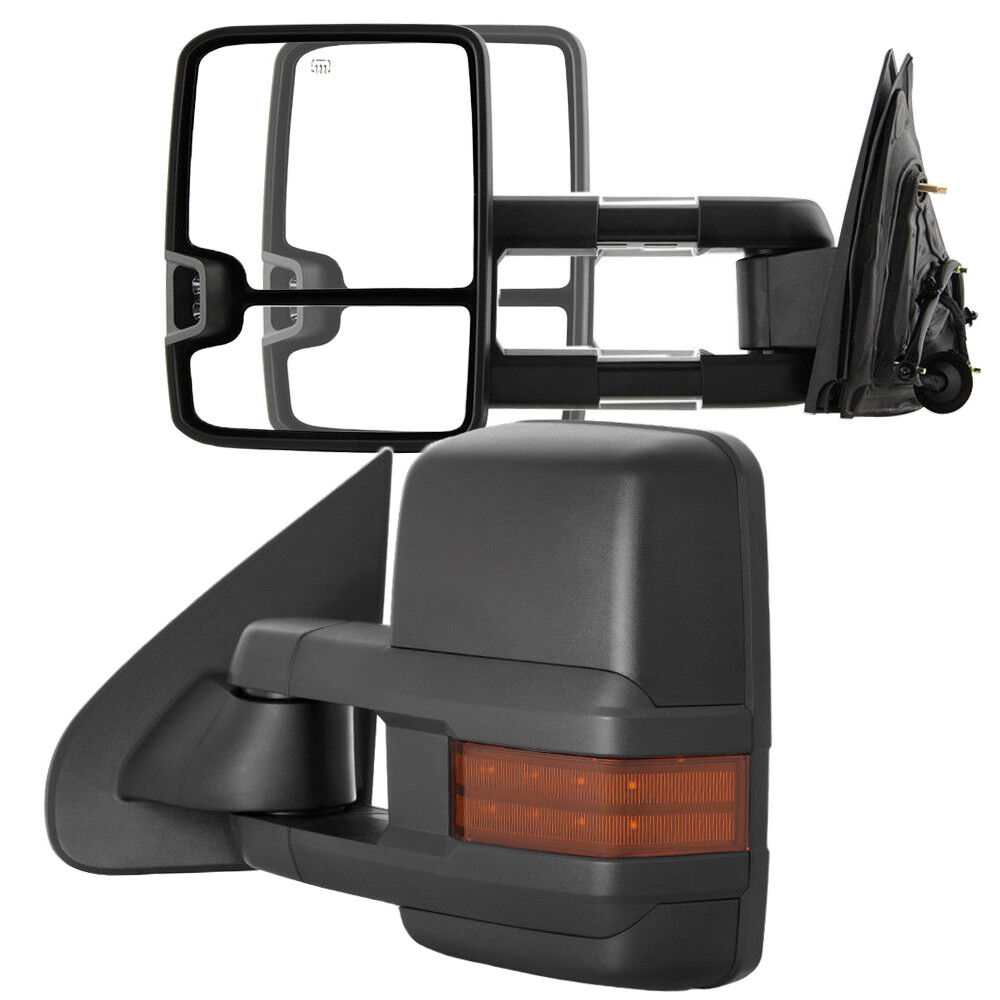 New Passenger//Right Power Amber Turn Signal Tow Mirror for Chevy//GMC Truck 03-06