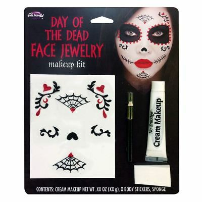 Halloween Face Painting Day Of The Dead (Day of the Dead Face Paint Jewellery Sticker Make Up Kit Halloween Fancy)