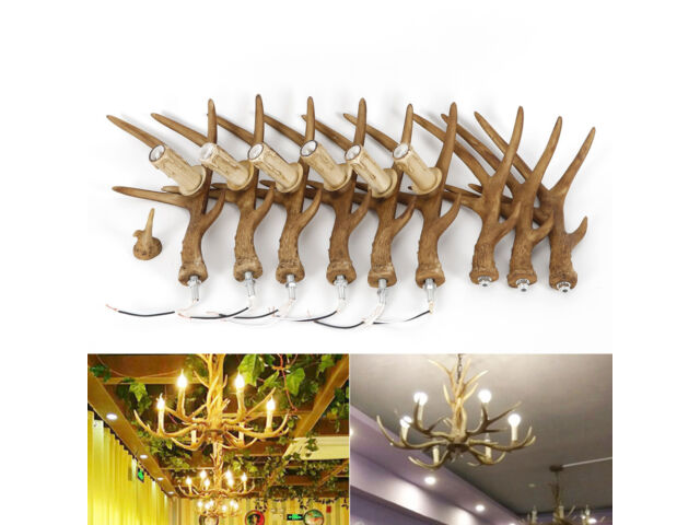 Deer Horn 6 Head Retro Pendant Lamp Resin Antler C