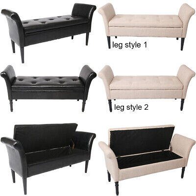 Modern Storage Bench w/ Arms Button Tufted Footstool Ottoman Living Room Bedroom
