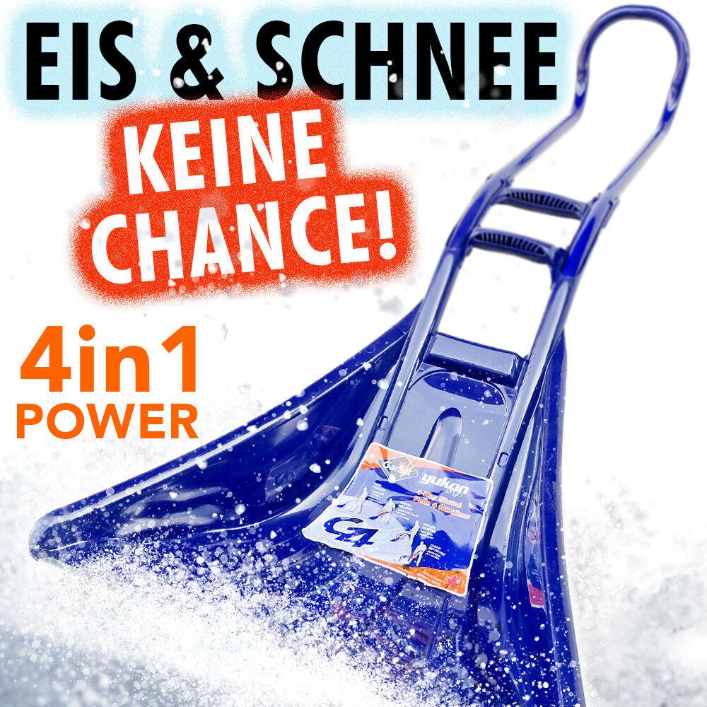 Profi Schneeschieber YUKON 4in1 65cm Schneeschaufel Eis-Kratzer Schneeräumer