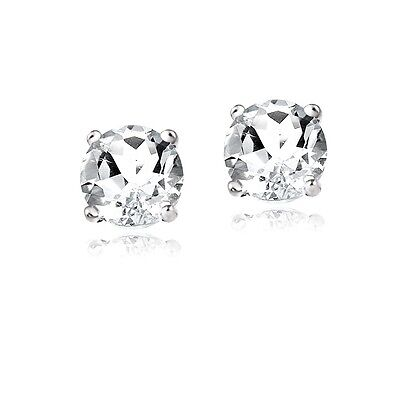 2ct White Topaz 925 Sterling Silver Stud Earrings 6mm