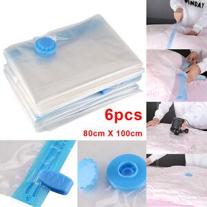 6 Packs 80 x 100cm Vacuum Compressed Storage Bags Saving Space Seal Vacum Bag