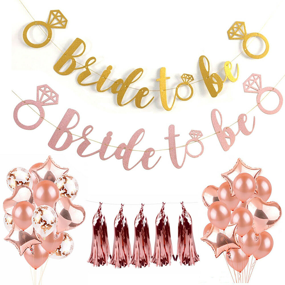 Gold Glitter Bunting Letter Banner Bridal Shower Wedding Hen Party Hanging Decor
