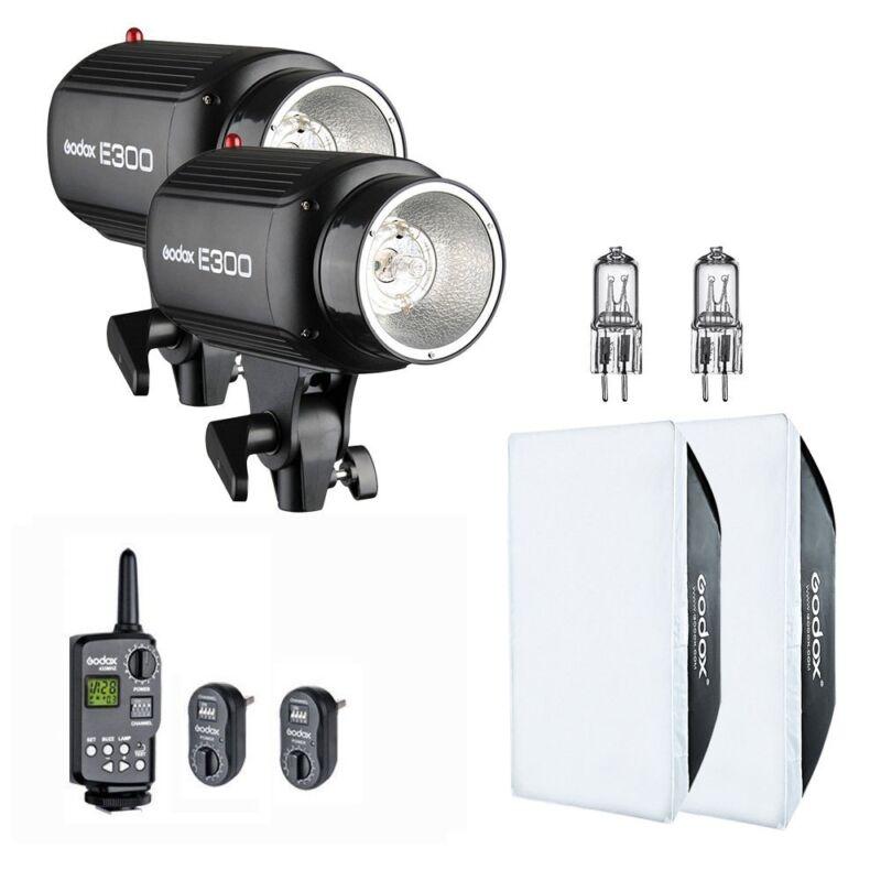 2X Godox E300 600Ws Studio Strobe Flash Light + Trigger + Softbox Kit 110V