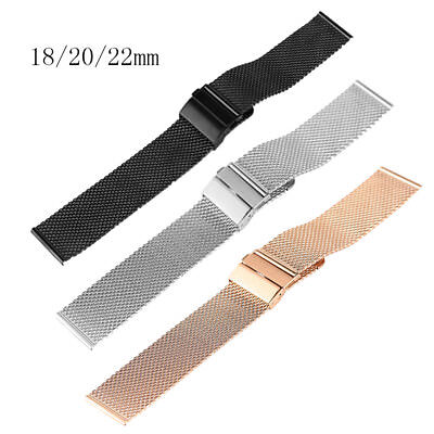 (18/20/22mm Black/Silver/Rose Gold Mesh Stainless Steel Wrist Band Hook Buckle)