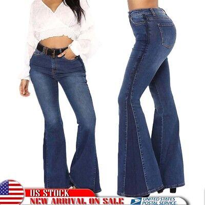 US Women's Flared Bell Bottom Denim Pants High Waist Slim Bootcut Jeans Trousers Bell Bottom Jeans Pants