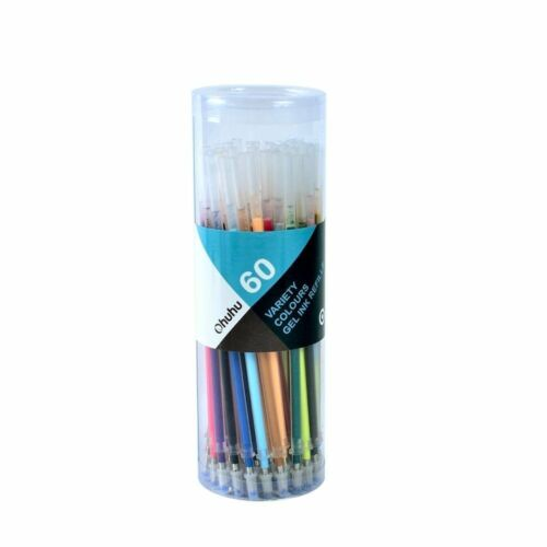 60 Color Gel Pens Glitter Drawing Painting Craft Marker Stat