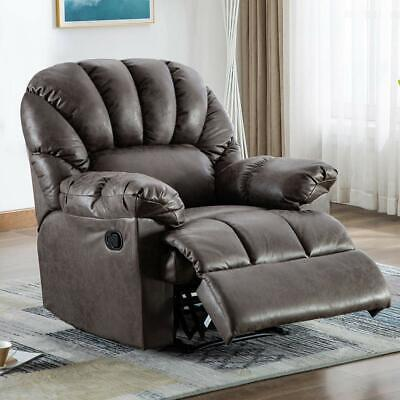 Leather Recliner Chair Overstuffed Padded Shell Wide Backrest Heavy Duty Sofa