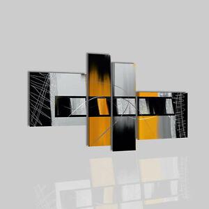 tableau moderne gris et jaune. Black Bedroom Furniture Sets. Home Design Ideas