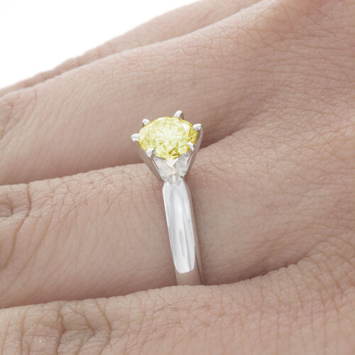 GIA Certified Diamond Solitaire Engagement Ring 1.24 CT Fancy Yellow Round 3