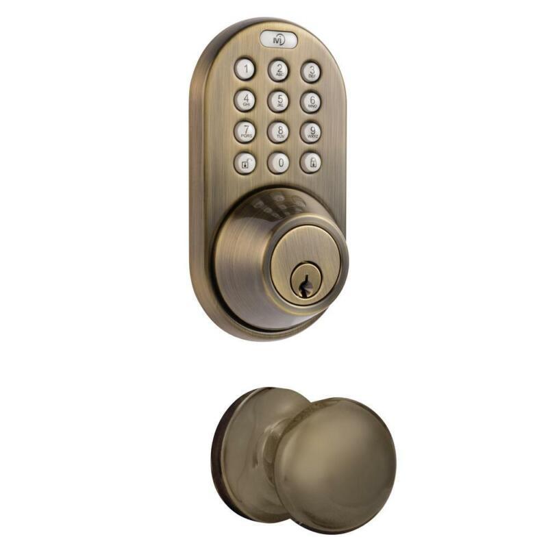 Antique Brass Keyless Entry Deadbolt And Door Knob Lock Comb