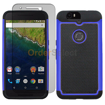 Hybrid Rubber Case+LCD Screen Protector for Phone Huawei Google Nexus 6 6P Blue Blue Rubberized Protector Case