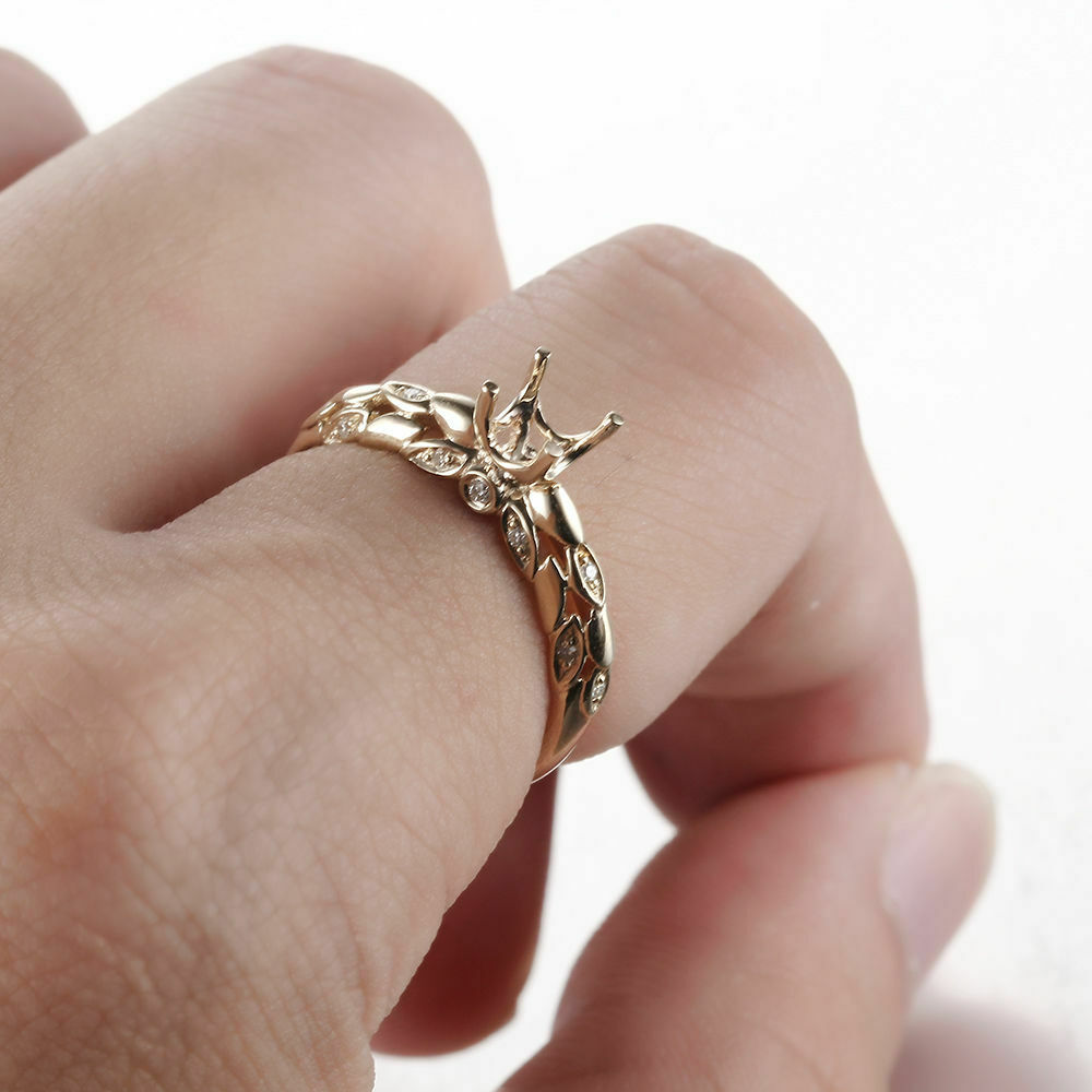 Diamond Engagement Wedding Ring 5-5.5mm Round Semi Mount Solid 10K ...
