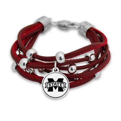 New Mississippi State Bulldogs Faux Leather Charm Bracelet,Gift for Her Mom