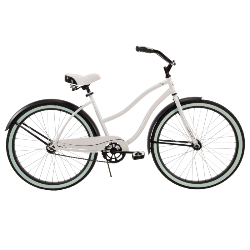 "New Huffy 26"" Cranbrook Womens Comfortable Beach Cruiser Bike 1-Speed White/Blue"