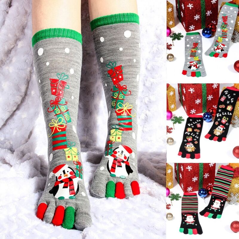 Christmas Unisec Print Multicolor Toe Socks Five Finger Socks Cotton Funny Socks