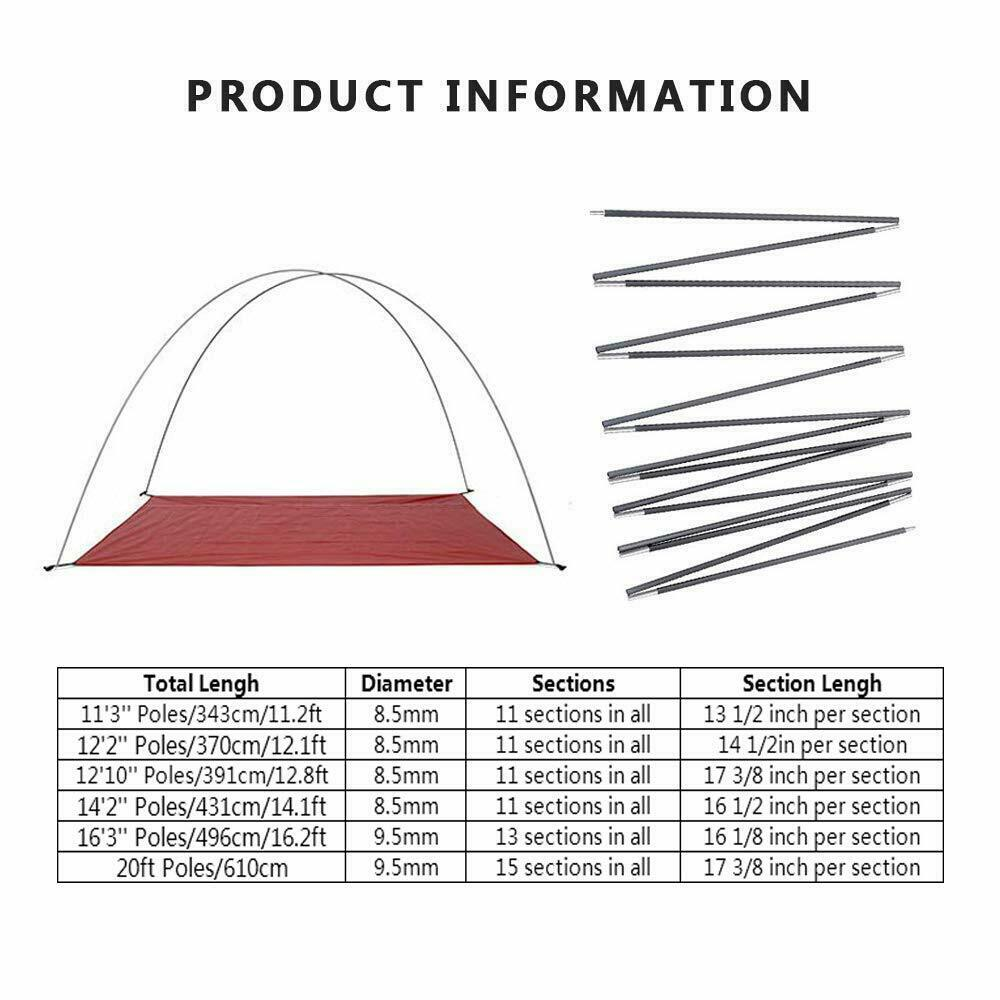 Ultralight Aluminum Alloy Tent Pole Camping Travel Replacement Support 8.5/9.5mm