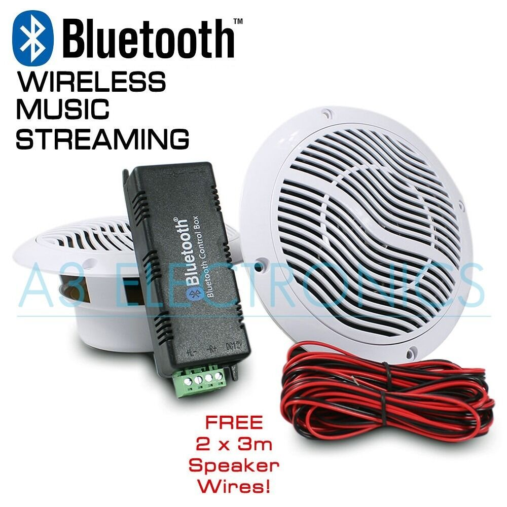 Bluetooth Ceiling Speaker Kit For Bathroom Kitchen Bedroom Living Room Sound System Free 3m Cable