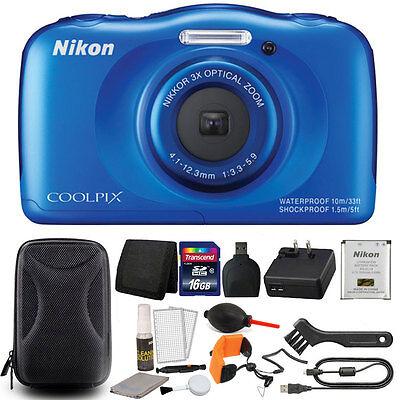 Nikon COOLPIX S33 13.2MP Waterproof -Freezeproof Digital Camera + 16GB Bundle