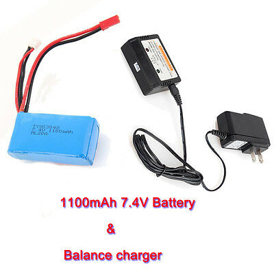 WLtoys 7.4V 1100mAh Li-ion Battery+Charger For RC Car A949 A959 A969 A979 Drone