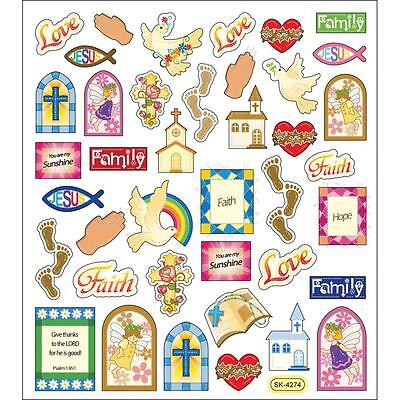 Scrapbooking Crafts Stickers Religious Faith Family Church Footprints Rainbow - Church Crafts