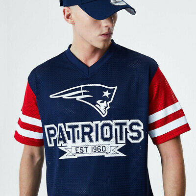 New Era NFL New England Patriots Contrast Sleeve Mesh Jersey Style T-Shirt