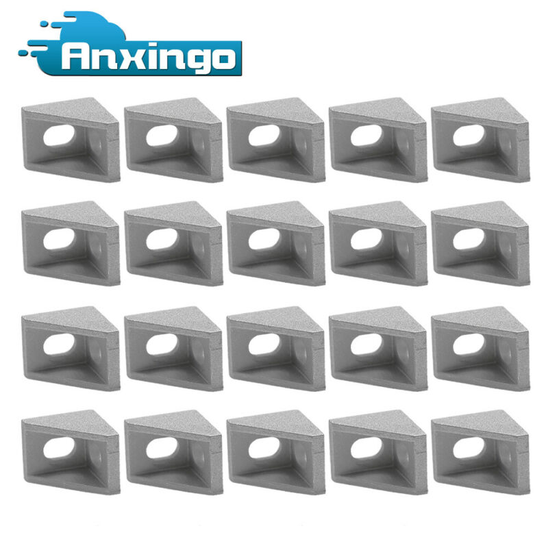20Pcs 6mm 2020 Corner Bracket Right Angle 20Series 2 Hole Aluminum Brackets