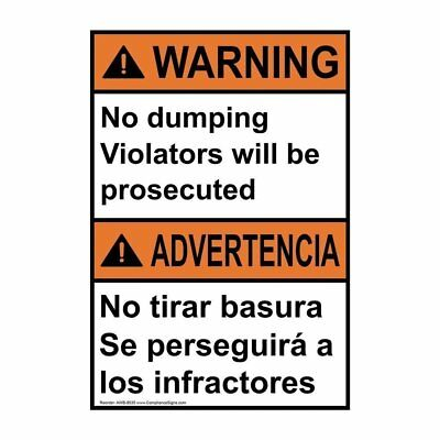 Warning No Dumping Violators Will Be Prosecuted Bilingual ANSI Label, 10x7 in.
