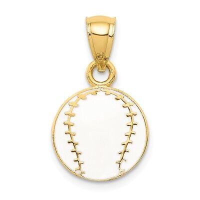 14K Yellow Gold Textured Back White Enameled Baseball Ball Sports Charm Pendant