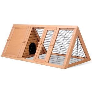 Rabbit Hutch Chicken Coop Guinea Pig Ferret Cage Hen Chook House Run Triangle