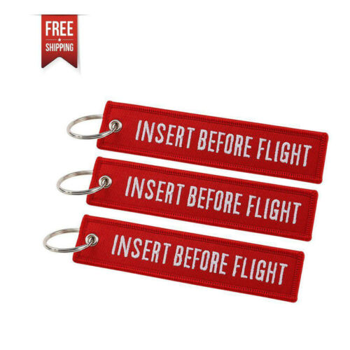 INSERT BEFORE FLIGHT QTY= 3 Pcs Red/white KEYCHAIN RING TAGS CABIN CREW PILOT