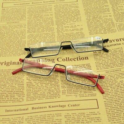 Halb Randlose Rechteck Lesebrille Damen Herren Lesegläser Brille + 1,0 ~ + 3.5