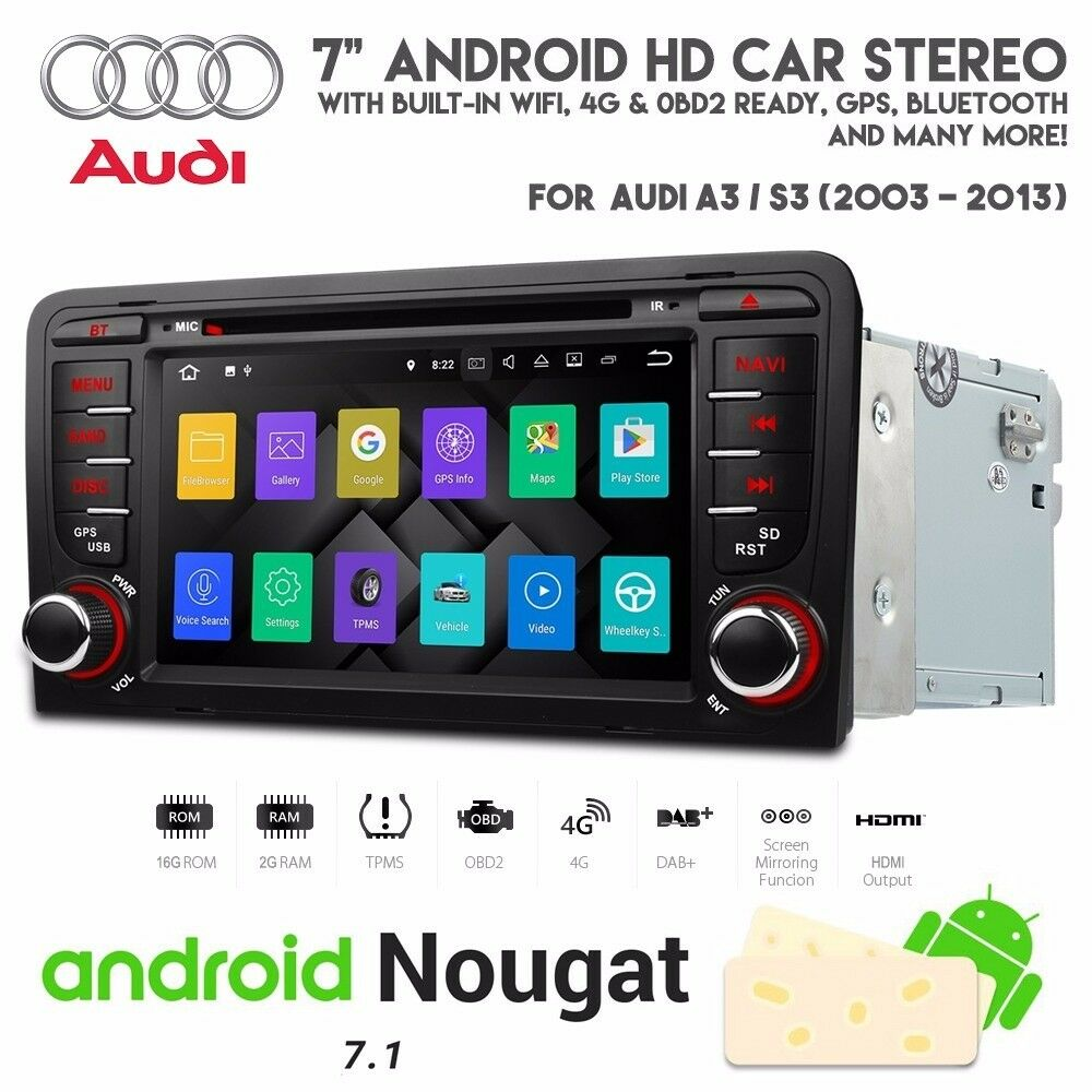 7 inch HD Screen Android WiFi Internet Bluetooth DVD GPS