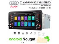 7 inch HD Screen Android WiFi Internet Bluetooth DVD GPS SatNav USB SD Aux Car Stereo For Audi A3 S3