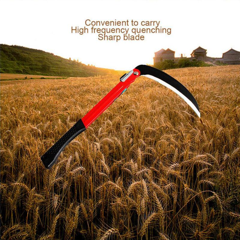 "16"" Folding Steel Sickle Hand Scythe Crops Farm Yard Weed Grass Cutter Remover"
