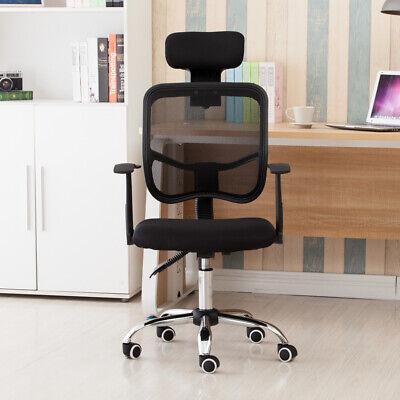 Mesh Back Gas Adjustable Office Swivel Chair Headrest Armrests Black Desk Seat